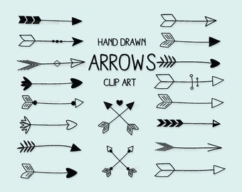 Black hand drawn Arrows Clipart (A set of 18).