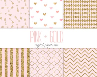 Pink and gold glitter digital paper, wedding backgrounds, girly, baby shower, arrows, hearts