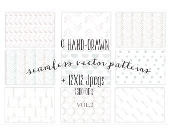 9 hand-drawn patterns, seamless vector patterns, seamless backgrounds, vector patterns, baby patterns
