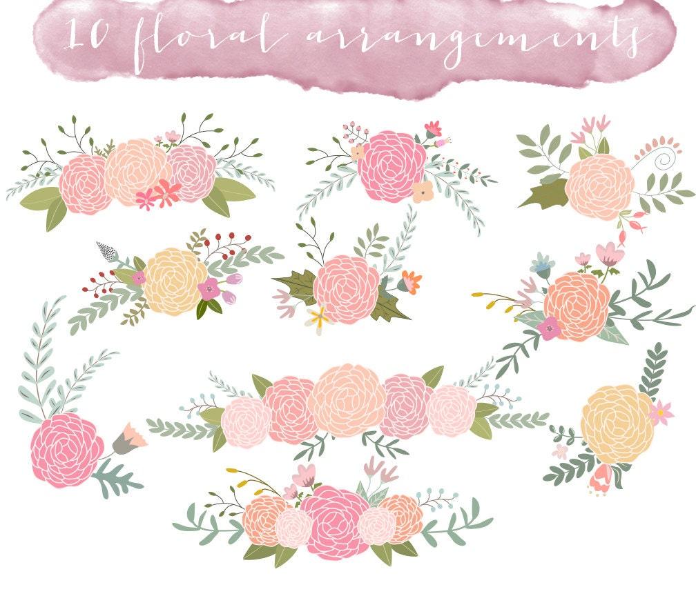 Floral Clip Art Wedding Clipart Ranunculus Flowers Etsy