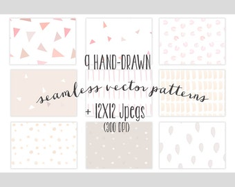 9 Seamless hand-drawn patterns, girly patterns, baby shower backgrounds, vector patterns, baby patterns