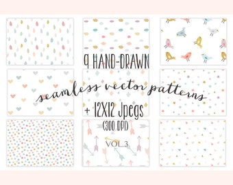 Seamless patterns / kids digital paper / vector patterns / baby backgrounds