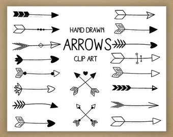 Black Hand Drawn Arrows Clipart (A set of 18)
