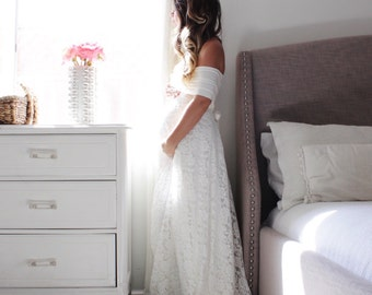 dd0fe89fda45d Wedding gown maternity wedding dress- The Wrap With Lace. EmbieBaby