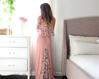 57e07ca0636 Maternity dress baby shower floral lace maternity gown for photo shoot -  the LOVE flounce limited
