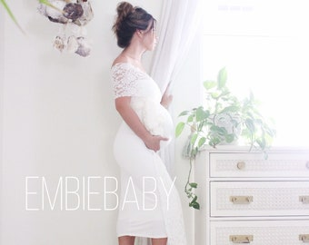 71704629b6bee Maternity gown fitted short maternity dress baby shower dress wedding dress  The Bodycon Wrap with lace. EmbieBaby