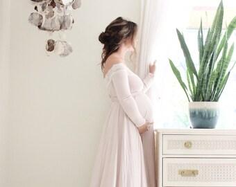 1288c090794aa Maternity dress / lace maternity dress / long sleeve / photo shoot dress/  baby shower dress / maternity gown-