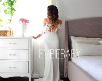 Maternity Dress maternity gown baby shower dress long maxi maternity dress - the floral love flounce