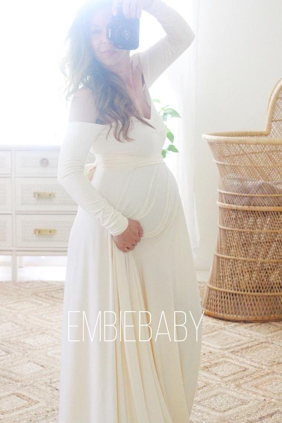Baby shower dress special event bohemian Maternity dress for photo shootmaternity wedding babydoll sweetheart long sleeve