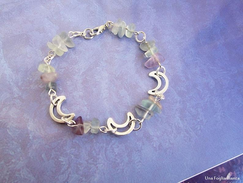 Fluorite bracelet pagan bracelet handmade moons charm