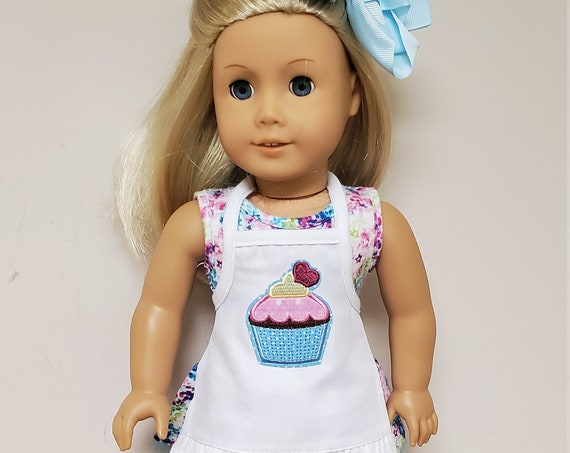 American Girl 4 Piece Outfit. Dress, Apron, Shoes, and Hair Bow