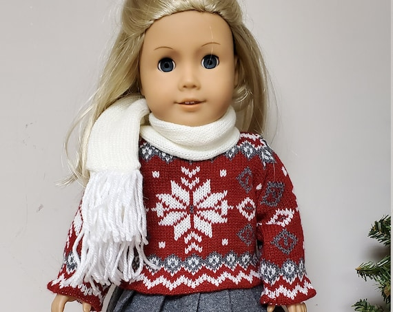 Red and Grey Snowflake Sweater outfit  for the American Girl Doll