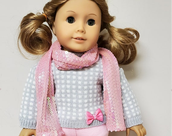 4 piece Pink and Gray Sweater outfit for the American Girl Doll