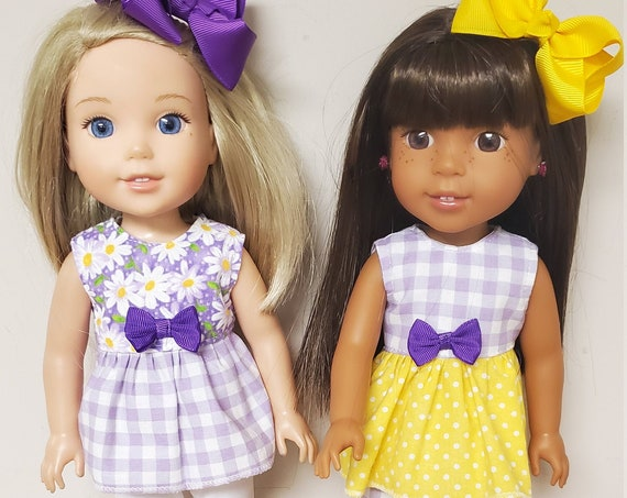 Wellie Wisher Purple and Yellow doll 4 piece Summer outfit.