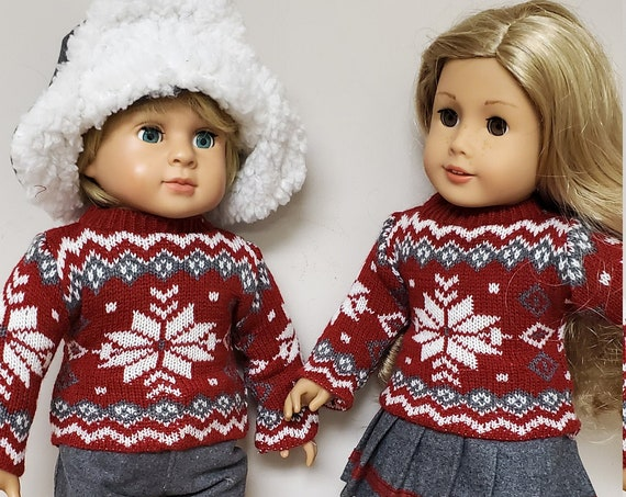Matching American Girl & Boy winter Sweater 4 piece outfits