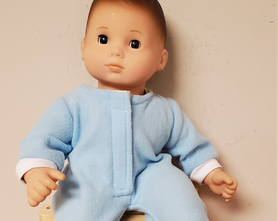 Bitty Baby blue flannel PJ's with a cozy flannel blanket