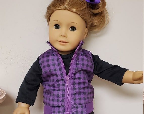 6 Piece Purple and Black outfit for any 18 inch doll like the American Girl Doll