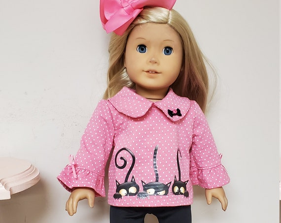"""Pink and Black Kitty Cat outfit for 18"""" Doll or the American Girl Doll"""