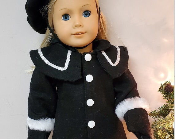 Black Winter Coat, gloves, hat and Boot set for the American Girl