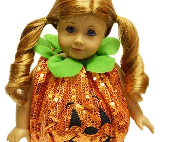 Sequin Pumpkin Costume for American Girl Dolls, My Life as Dolls , Our Generation Dolls- 18 Inch Doll Clothes Halloween Costumes