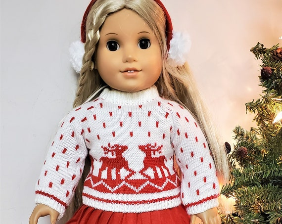 """Red Winter 5 Piece outfit for any 18"""" doll like the American Girl Doll"""
