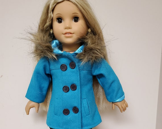 American Girl Teal blue winter Coat and boots.