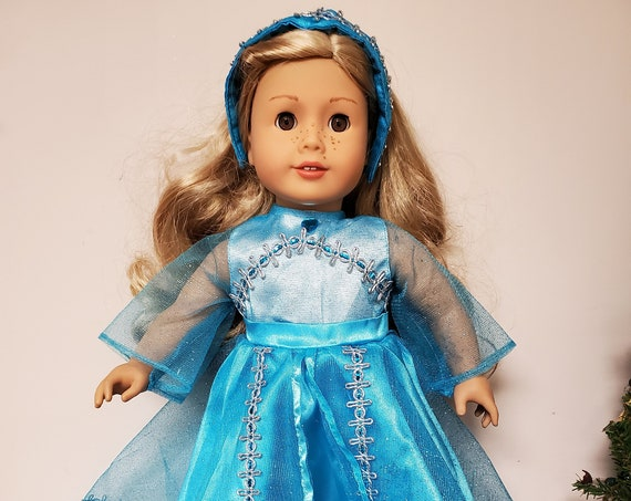 """Blue Traditional Gown that fits the American Girl Doll or any 18"""" doll"""