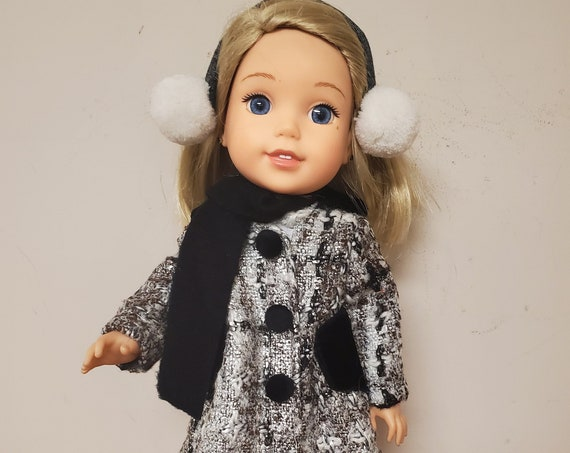 Willie Wisher Coat outfit. 5 pieces, coat ear muffs, leggings, boots, scarf