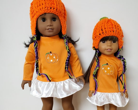 Matching 4 piece Pumpkin Outfit for the American Girl & Wellie Wisher Dolls