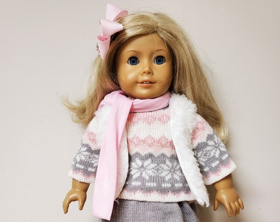 Pink winter Sweater outfit for the American Girl Doll 6 Pieces