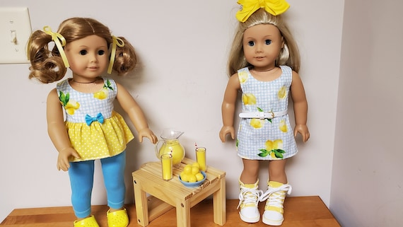 American Girl summer yellow and blue 4 piece outfit. Lemons and sunshine.