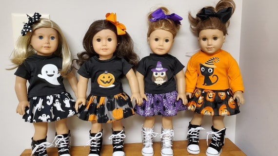American Girl Fall 4 piece outfit Halloween skirt outfit