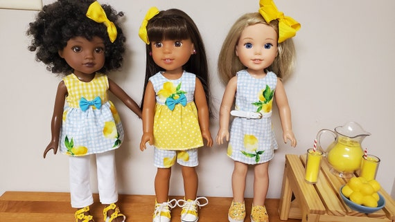 Wellie Wisher Doll Yellow Lemon & blue 4 piece outfit.