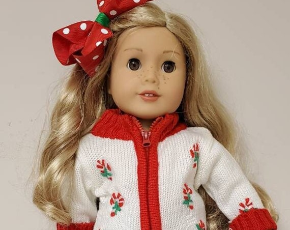 Holiday Candy Cane Sweater outfit  for 18 Inch dolls such as American Girl®  5 piece