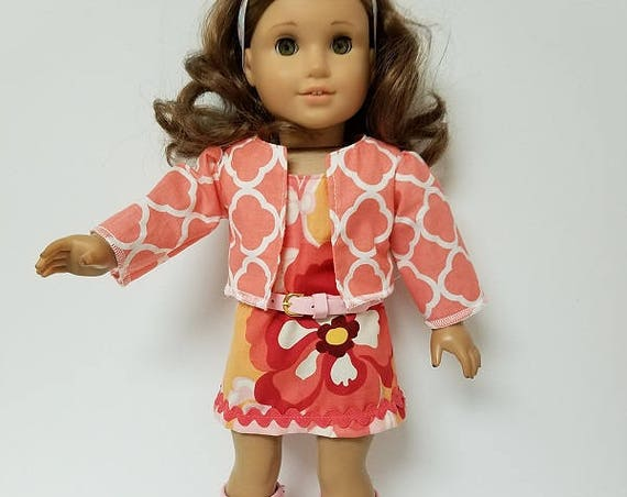 "70's Mini Dress for any 18"" doll like the American Girl 4 pieces Jacket or Poncho"