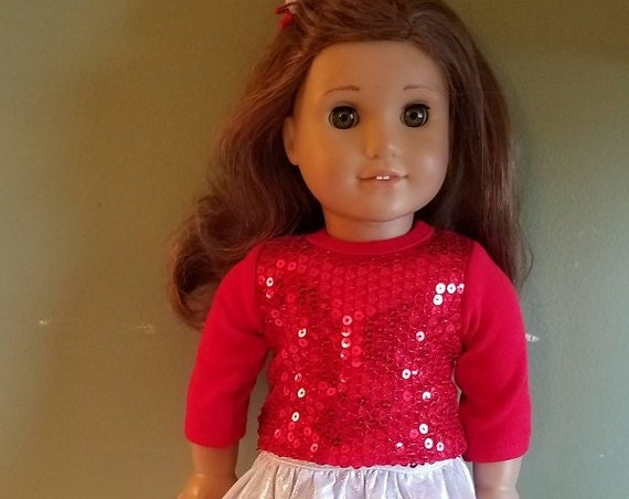 4 piece Red and sliver outfit  for 18 Inch dolls such as American Girl®