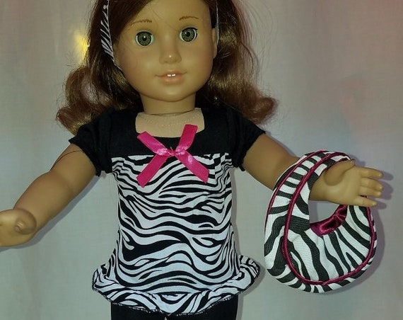 "Zebra outfit with purse for 18"" Doll or the American Girl Doll"