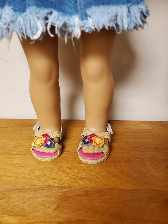 American Girl doll sandals. flowers doll shoes. Girl Shoes/Girl Doll Accessories/18 inch Doll