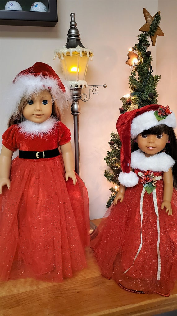 Sparkle Holly Christmas Dress with Hat and Shoes. American Girl and Wellie Wisher Sizes