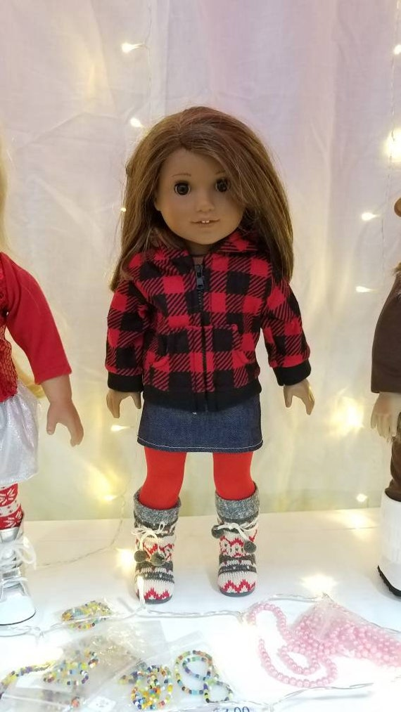4 piece Red and Black Buffalo Plaid outfit for 18 Inch dolls such as American Girl®