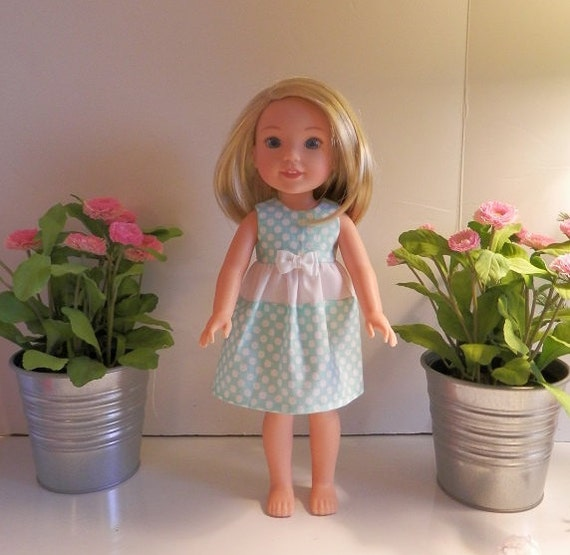 Polka Dot dress that will fit the Wellie Wisher Doll