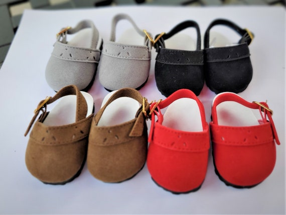 American Boy or Girl Doll Suede Crocs. Black, Brown, Red, or Gray Suede Clogs for the Doll dress doll shoes/doll loafers