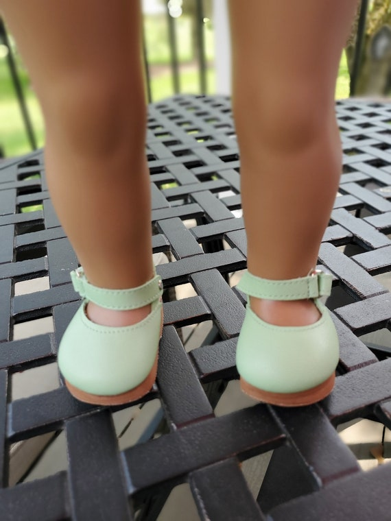 Clogs for any 18 inch doll. Platform Clogs comes in pink or green