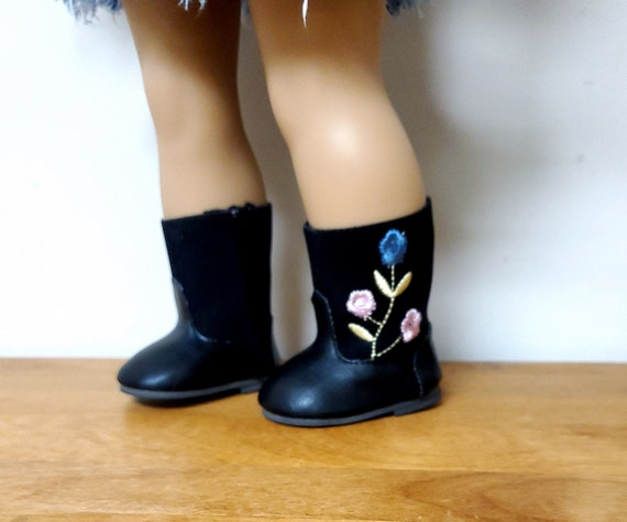 18 inch Doll boots/Black with embroidered flower and side zipper. Fits the American girl doll or the Bitty Baby doll
