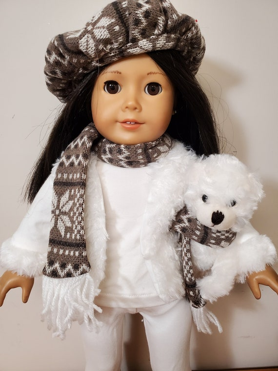 7 piece brown and cream Winter Outfit  for any 18 Inch doll like the American Girl doll