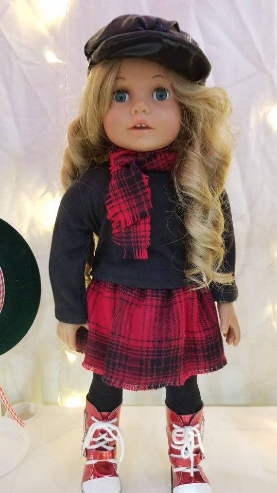 6 piece Red and Black Buffalo Plaid outfit  for 18 Inch dolls such as American Girl®