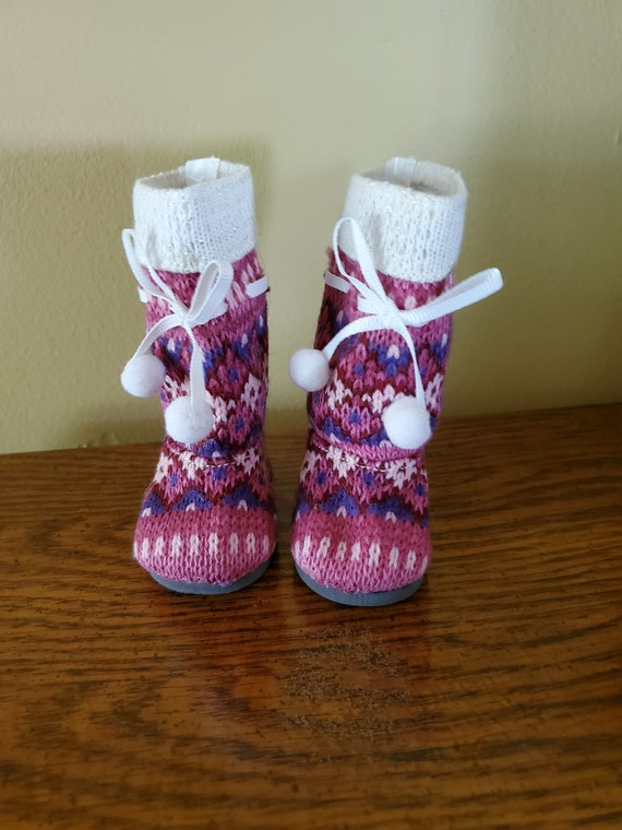 Knit Pom-pom Boots for the American Girl Doll