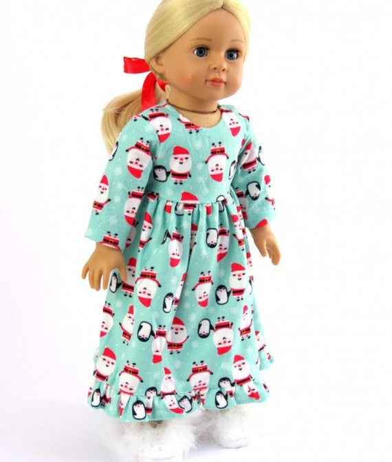 "Santa Christmas Gown and slippers for a 18"" doll or the American Girl doll"