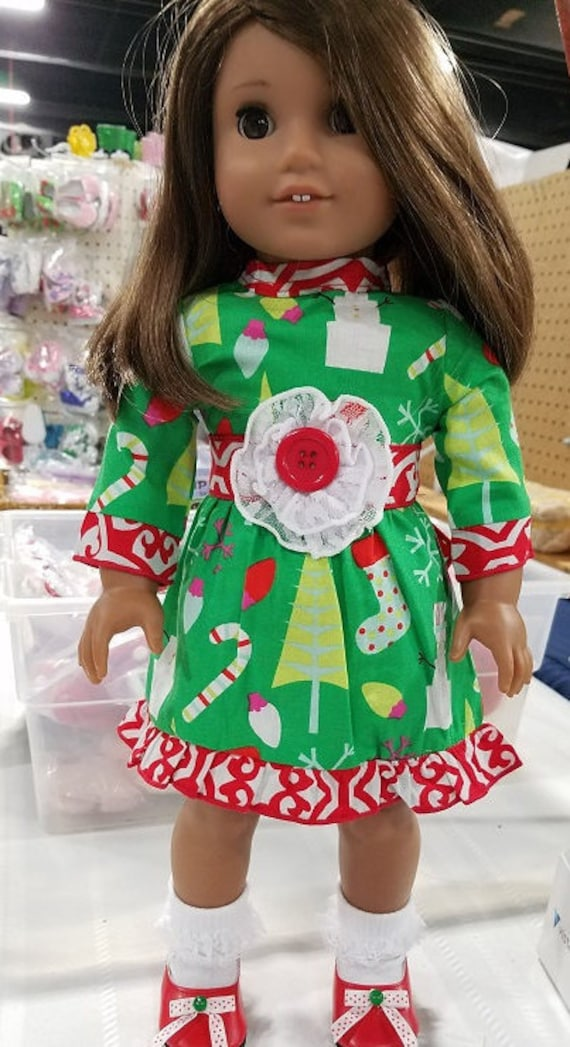 Holiday Christmas dress for any 18 inch doll like the American Girl.