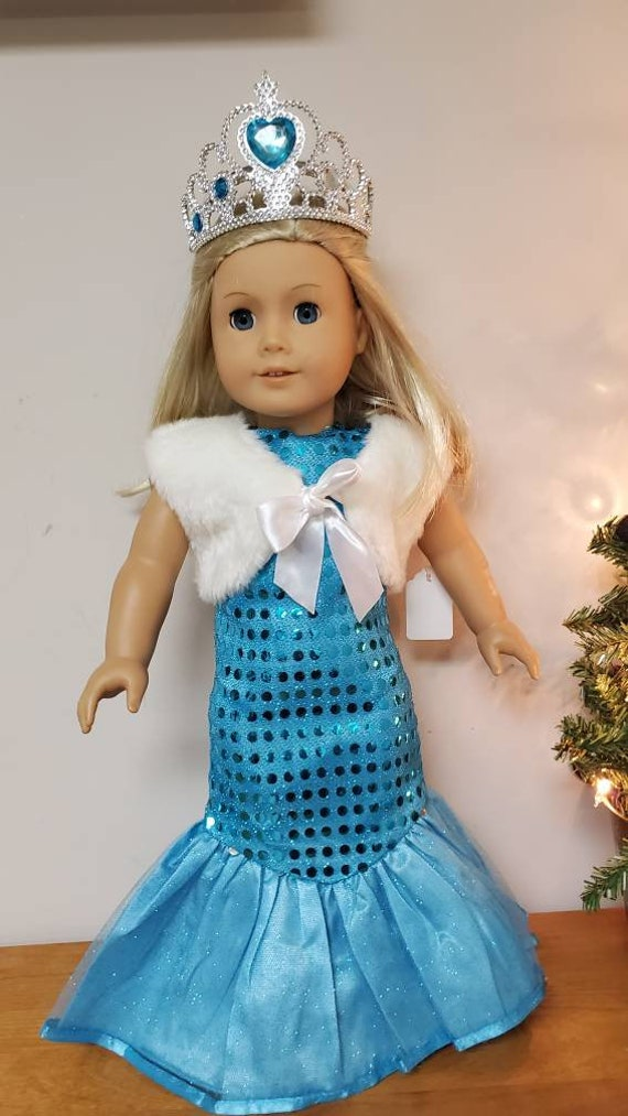 Blue sequin mermaid Gown with Crown, fur vest,, and Shoes for the American Girl doll